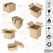 Stock Vector: Shipping boxes and signs vector