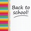 Back to school text on a paper with colored pencils. Vector illustration. — ベクター素材ストック
