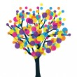 Fruitfulness artistic tree. Botany and productivity vector concept. - Stock Vector