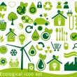 Ecological icon set. 42 green vector symbols for the environmental protection. — Stock Vector