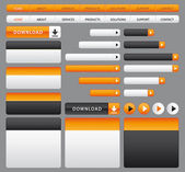 Website buttons, boxes and navigation bar. Orange and grey set. — Stock Vector