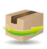 Delivery cardboard process vector — Stock Vector