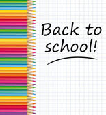 Back to school text on a paper with colored pencils. Vector illustration. — Stock vektor