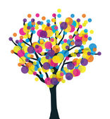 Fruitfulness artistic tree. Botany and productivity vector concept. — Stock Vector
