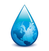 Water crisis vector droplet with world — Stock Vector