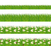 Green grass, ladybugs and daisies strips. Foregrounds vector collection. — Stok Vektör