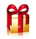 золотой подарок с красным бантом. — Cтоковый вектор
