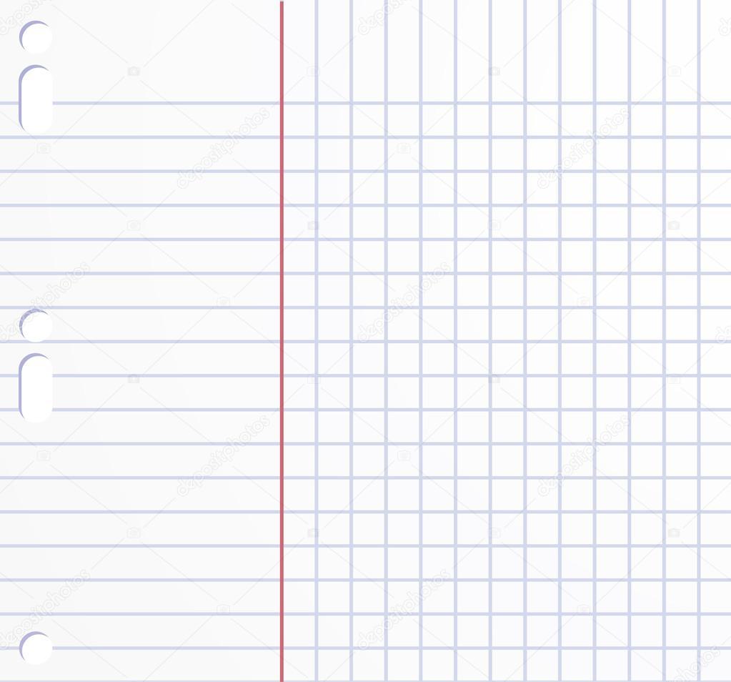 School vector background. Workbook squared paper sheet. — Stock ...