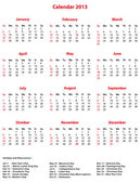 Simple vector 2013 Office Calendar. — Stock Vector