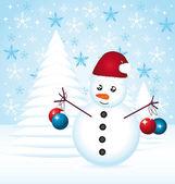Snowman decorating christmas tree. — Stock Vector