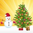 Snowman decorating a joyful christmas tree. Greeting card. - Stock Vector