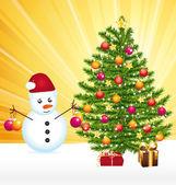 Snowman decorating a joyful christmas tree. Greeting card. — Stock Vector
