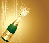 Beautiful greeting card. 2013 Champagne bottle. — Stock Vector