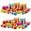 Two stacks of colorful festive gifts. - Stock Vector