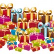Huge pile of colorful festive gifts. - Stock Vector