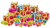 Huge pile of colorful festive gifts. — Stock Vector