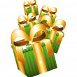 Green gifts with lage golden bows falling. — Stock Vector