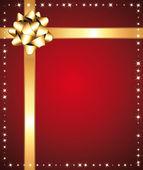 Fundo estrelado festivo vermelho com laço dourado. — Vetorial Stock
