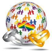 Homosexual marriage and adoption icon. — Stock Vector