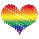 LGBT colors heart flag. Vector emblem. — Stock Vector #19235333
