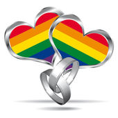 Gay marriage symbol with white gold rings. Vector icon. — Stock Vector