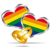 Gay marriage symbol with gold rings. Vector icon. — Stock Vector