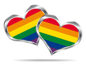Two hearts with lgbt flag. Vector icon. — Stock Vector