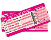 Two Boarding passes. PInk flight coupons. — Stock Vector
