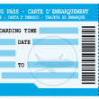 Stock Vector: Boarding pass. Blue flight coupon.