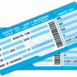 Two boarding passes. Blue flight coupons. - 图库矢量图片