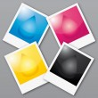 CMYK colors wheel. Printed polaroids illustration. - Grafika wektorowa
