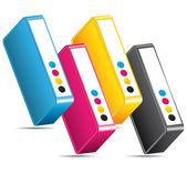 CMYK CMJN Ink toners. Printing icon. — Stock Vector