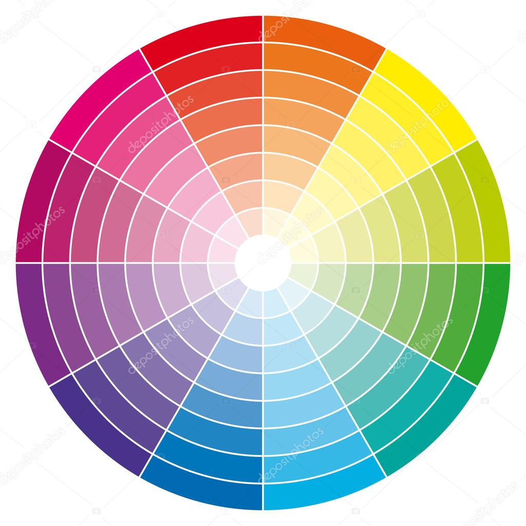 Color wheel with shade of colors vector illustration - Cercle chromatique peinture ...