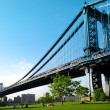 Manhattan bridge. View from Brooklyn. New York City. United states of America. — Foto de Stock