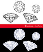 Diamonds vector collection. Gems and geometry. — Stock Vector