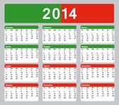 2014 printable Italian Calendar. Public holidays. — Stock Vector