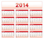 Red 2014 calendar. American version with public holidays. — Stock Vector
