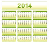 Green 2014 calendar. American version with public holidays. — Vector de stock