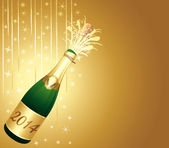 Golden festive background with 2014 bottle of Champagne. — Stock Vector