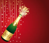 Red and gold festive background with 2014 bottle of Champagne. — Stock Vector