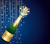 Blue and gold festive background with 2014 bottle of Champagne. — Stock Vector