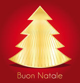 Buona natale. Red and gold christmas greeting card. italian version. — Stock Vector
