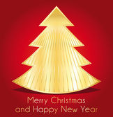 Merry christmas and happy new year. red and gold best wishes greeting card. — Stock Vector