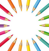 Wheel of colored pencils. Vector background. — Vector de stock