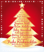 Christmas tree with greetings written in several languages. — Stockvektor