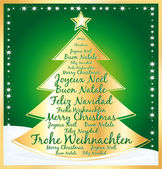 Christmas tree with greetings in several languages. green illustration. — Stock Vector