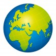Green world globe icon. Europe, Africa and Russia view. — ストックベクタ