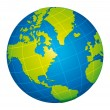 Green world globe icon. American view.  — Grafika wektorowa