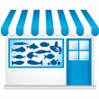 Stock Vector: Blue fishmonger. Little cute convenience store.