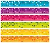 Colorful mosaic banners set. 728x90 for commercial use. Vector collection. — Stock Vector